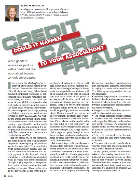 Credit Card Fraud - Could it Happen to Your Association?, By Anne Sheehan, CPA